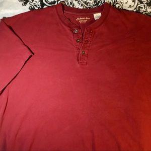 Dark Red V-Neck Button Down Short-Sleeve Shirt